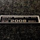 HONDA CRF-250R 2008 MODEL TAG HONDA MOTOR CO., LTD. DECALS