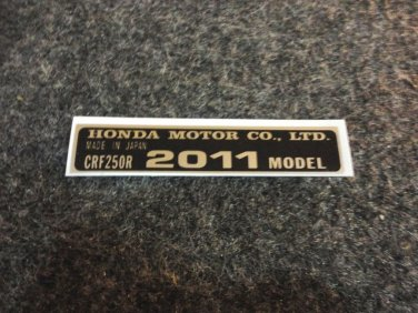 HONDA CRF-250R 2011 MODEL TAG HONDA MOTOR CO., LTD. DECALS