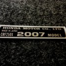HONDA CRF-250X 2007 MODEL TAG HONDA MOTOR CO., LTD. DECAL