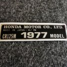 HONDA CR-125M 1977 MODEL TAG HONDA MOTOR CO., LTD. DECALS