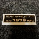 HONDA CR-125R 1979 MODEL TAG HONDA MOTOR CO., LTD. DECALS