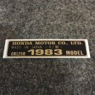 HONDA CR-125R 1983 MODEL TAG HONDA MOTOR CO., LTD. DECALS