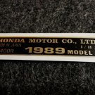 HONDA FL-400R 1989 MODEL TAG HONDA MOTOR CO., LTD. DECALS