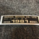 HONDA CR-250R 1981 MODEL TAG HONDA MOTOR CO., LTD. DECALS