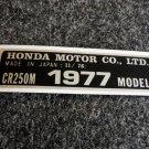 HONDA CR-250M 1977 MODEL TAG HONDA MOTOR CO., LTD. DECALS