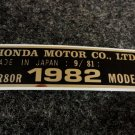 HONDA CR-80R 1982 MODEL TAG HONDA MOTOR CO., LTD. DECALS