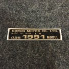 HONDA CR-250R 1991 MODEL TAG HONDA MOTOR CO., LTD. DECALS
