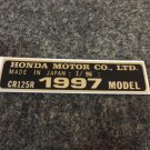 HONDA CR-125R 1997 MODEL TAG HONDA MOTOR CO., LTD. DECALS