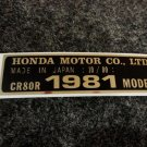 HONDA CR-80R 1981 MODEL TAG HONDA MOTOR CO., LTD. DECALS