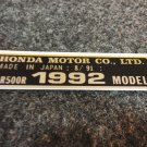 HONDA CR-500R 1992 MODEL TAG HONDA MOTOR CO., LTD. DECALS