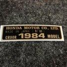 HONDA CR-80R 1984 MODEL TAG HONDA MOTOR CO., LTD. DECALS