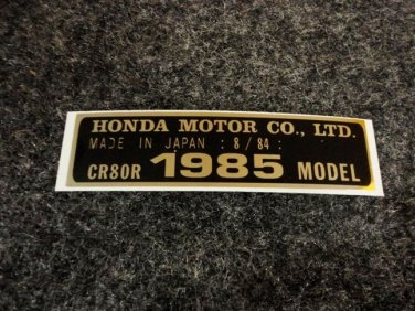 HONDA CR-80R 1985 MODEL TAG HONDA MOTOR CO., LTD. DECALS
