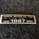 HONDA CR-80R 1987 MODEL TAG HONDA MOTOR CO., LTD. DECALS
