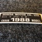 HONDA CR-80R 1988 MODEL TAG HONDA MOTOR CO., LTD. DECALS