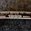 HONDA CR-80R 1999 MODEL TAG HONDA MOTOR CO., LTD. DECALS