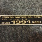 HONDA CR-500R 1991 MODEL TAG HONDA MOTOR CO., LTD. DECALS