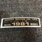 HONDA CR-125R 1981 MODEL TAG HONDA MOTOR CO., LTD. DECALS