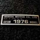HONDA CR-250M 1976 MODEL TAG HONDA MOTOR CO., LTD. DECALS