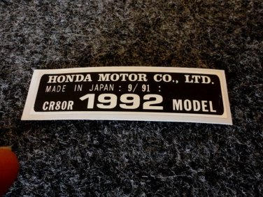 HONDA CR-80R 1992 MODEL TAG HONDA MOTOR CO., LTD. DECALS