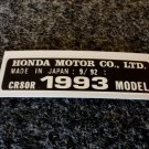 HONDA CR-80R 1993 MODEL TAG HONDA MOTOR CO., LTD. DECALS