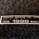 HONDA CR-80R 1998 MODEL TAG HONDA MOTOR CO., LTD. DECALS