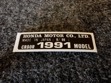 HONDA CR-80R 1991 MODEL TAG HONDA MOTOR CO., LTD. DECALS