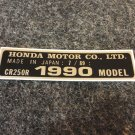HONDA CR-250R 1990 MODEL TAG HONDA MOTOR CO., LTD. DECALS