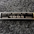 HONDA CR-80R 1994 MODEL TAG HONDA MOTOR CO., LTD. DECALS
