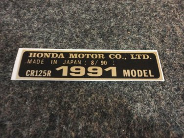 HONDA CR-125R 1991 MODEL TAG HONDA MOTOR CO., LTD. DECALS