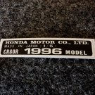 HONDA CR-80R 1996 MODEL TAG HONDA MOTOR CO., LTD. DECALS