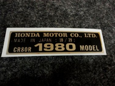 HONDA CR-80R 1980 MODEL TAG HONDA MOTOR CO., LTD. DECALS