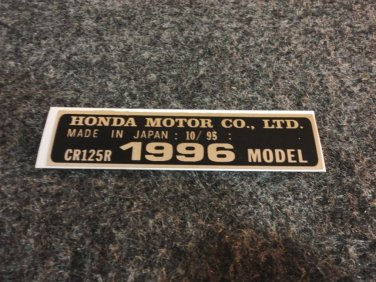 HONDA CR-125R 1996 MODEL TAG HONDA MOTOR CO., LTD. DECALS