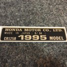 HONDA CR-125R 1995 MODEL TAG HONDA MOTOR CO., LTD. DECALS