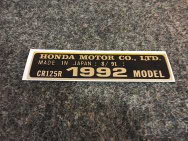 HONDA CR-125R 1992 MODEL TAG HONDA MOTOR CO., LTD. DECALS