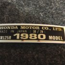 HONDA CR-125R 1980 MODEL TAG HONDA MOTOR CO., LTD. DECALS