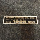 HONDA CR-250R 1995 MODEL TAG HONDA MOTOR CO., LTD. DECALS
