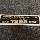 HONDA CR-250R 1999 MODEL TAG HONDA MOTOR CO., LTD. DECALS