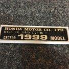 HONDA CR-250R 1999 MODEL TAG HONDA MOTOR CO., LTD. DECALS