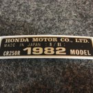 HONDA CR-250R 1982 MODEL TAG HONDA MOTOR CO., LTD. DECALS