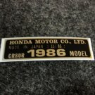 HONDA CR-80R 1986 MODEL TAG HONDA MOTOR CO., LTD. DECALS