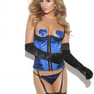 Royal Blue Satin Bustier with Gloves, G String and Thigh Hi