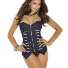 Blue Denim Military Style Zip Front Corset with Matching G String
