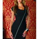 Short Black Dress with Diagonal Zip Front