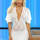 Short Sleeve Billowing Shoulder Lace Dress
