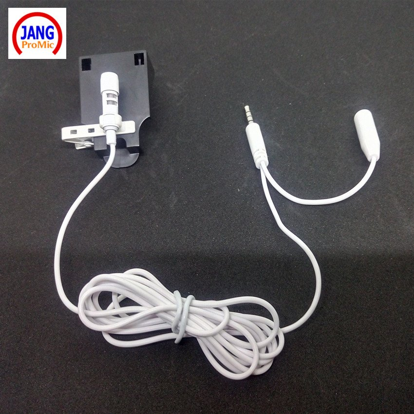 Lapel White Mobile Phone Microphone Stereo Condenser Microfone Two Line Earphone for iPhone Samsung