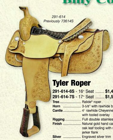 Billy Cook Tyler Roping Saddle 17""