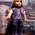 PURPLE VARSITY SWEAT SUIT SET FOR AMERICAN GIRL 18 INCH DOLLS