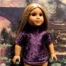 PURPLE VELVET BLOUSE FOR AMERICAN GIRL 18 INCH DOLLS