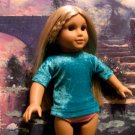 TEAL VELVET BLOUSE FOR AMERICAN GIRL 18 INCH DOLLS