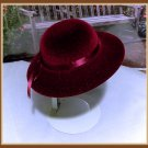 Burgandy Velvet Derby Hat for American Girl 18 inch dolls
